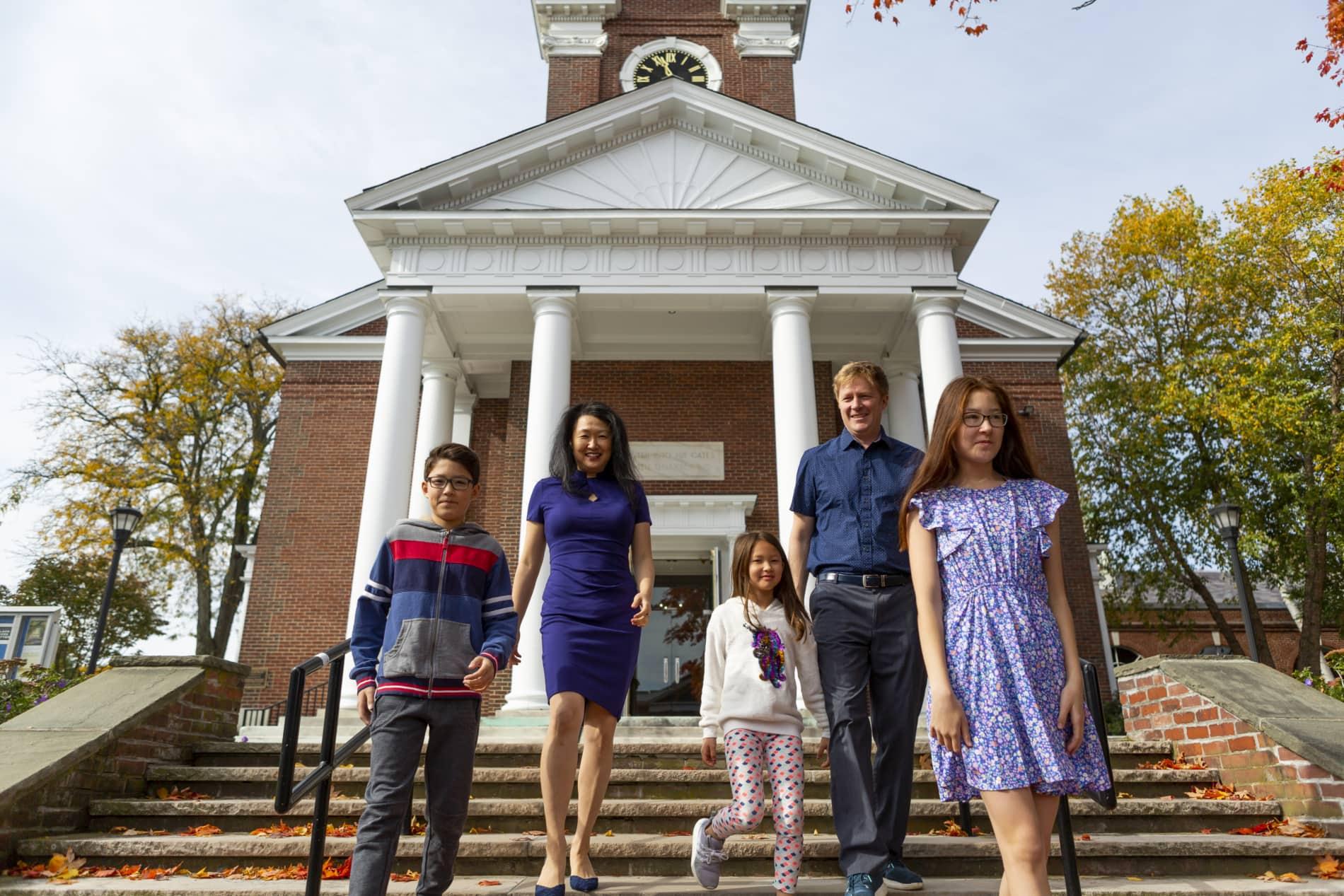 Family on church steps