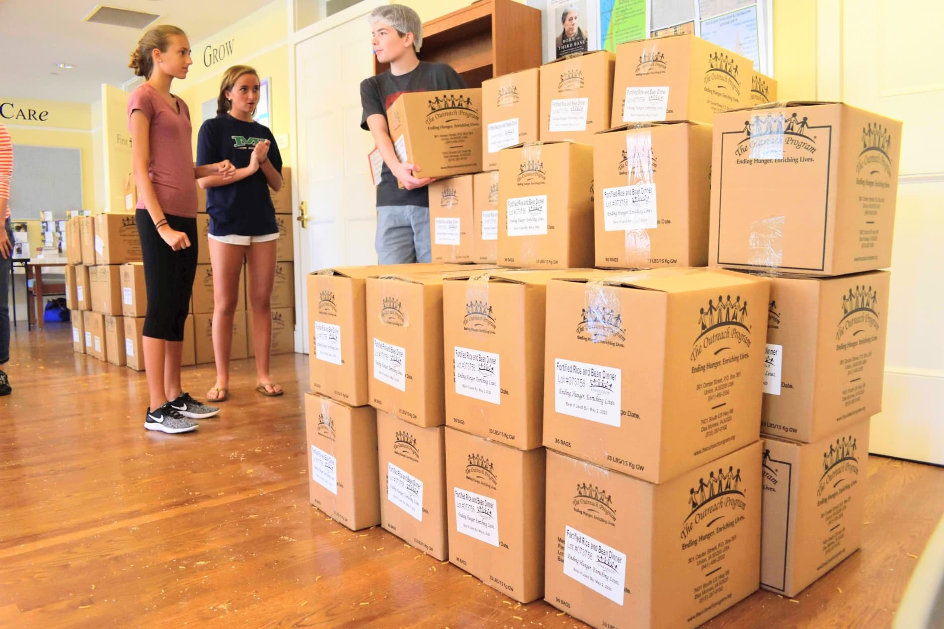 Boxes of food ready for distribution