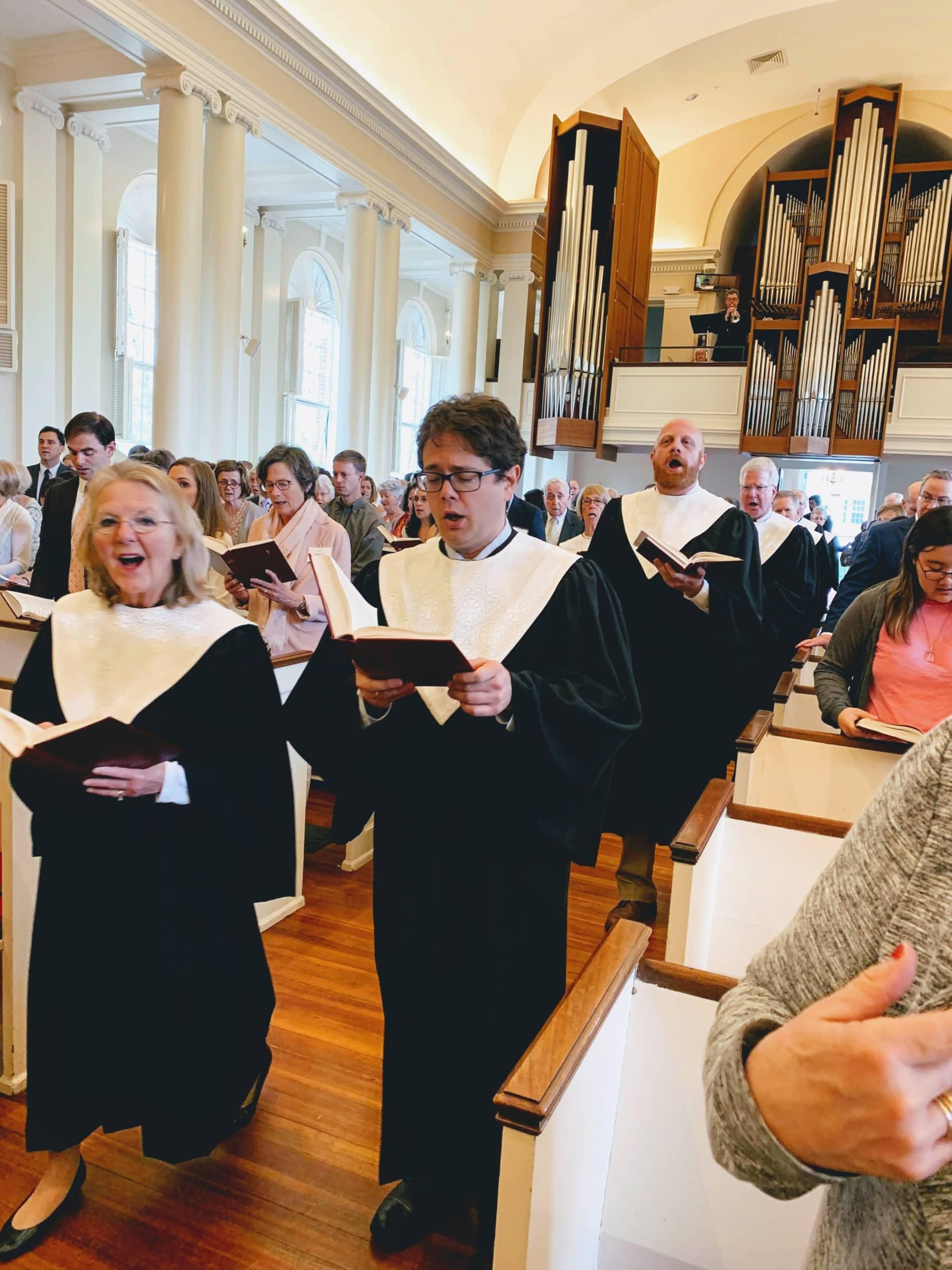 Choir processional sings