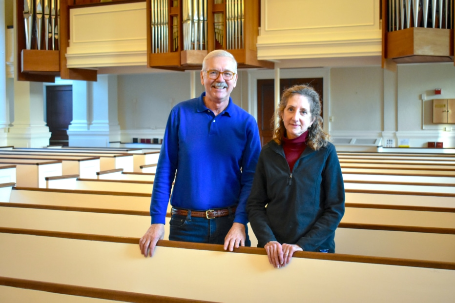 Ernie and Candace Sutcliffe in church pew
