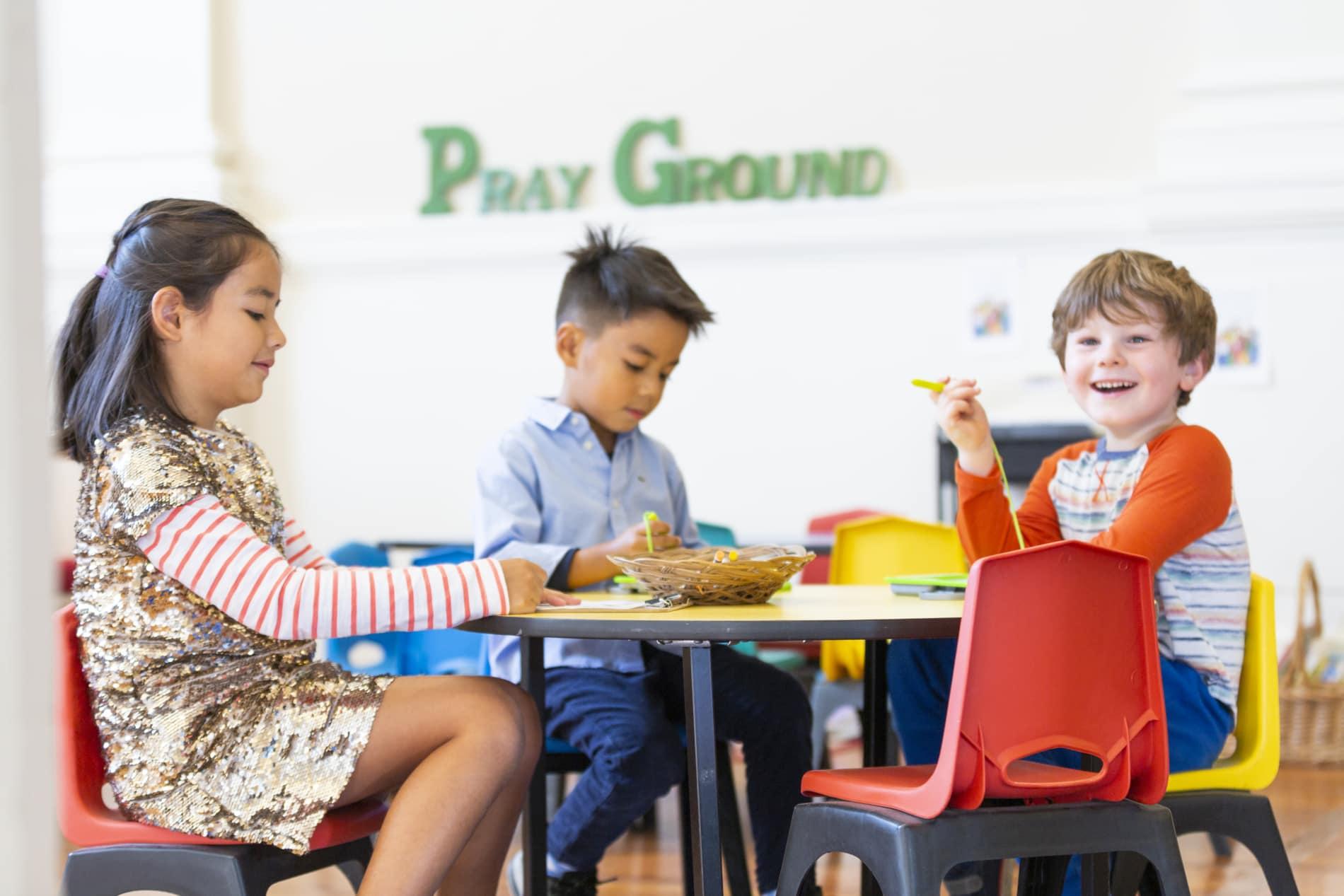 Children play in church Prayground