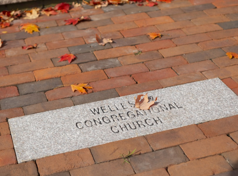 Stone paver engraved with Wellesley Village Church