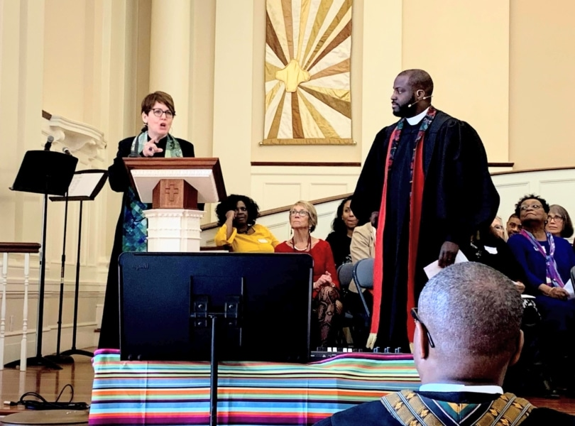 Rev. Pam Emslie preaches at joint Charles St AME and Village Church worship