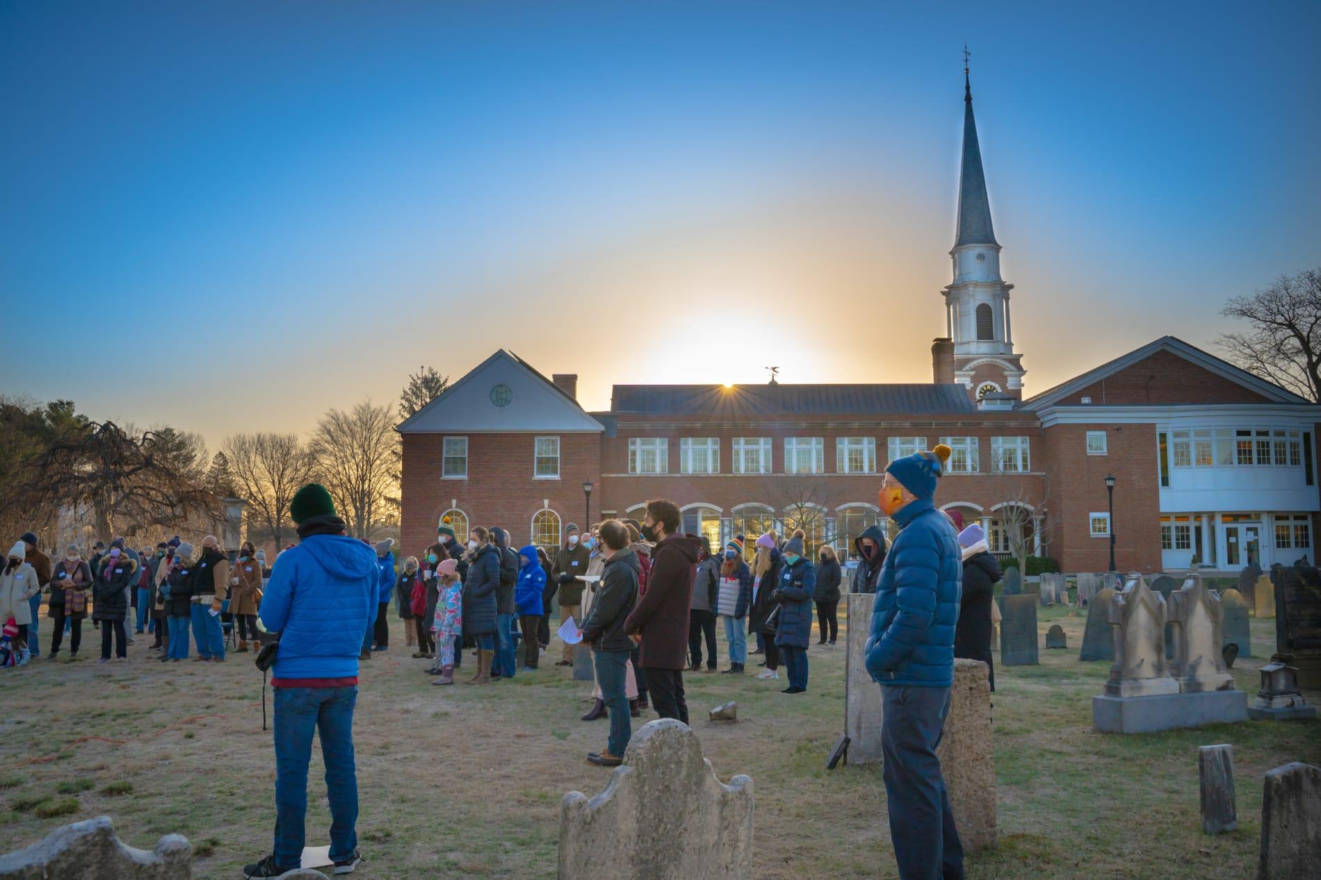 Easter sunrise service in Village Church graveyard